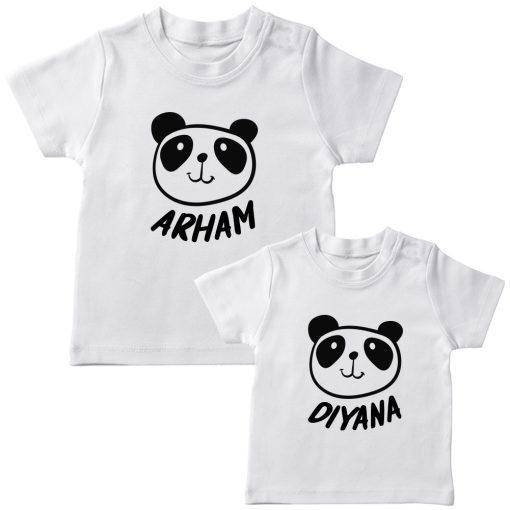 Panda-Customized-Name-Tee-Siblings-T-Shirt-White