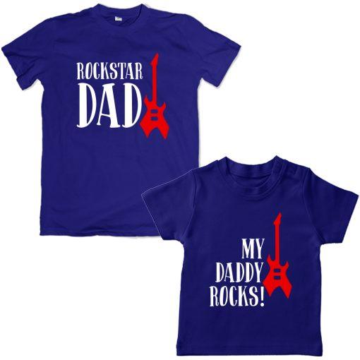 Rock-n-Roll-Dad-Son-Combo-T-Shirt-Blue