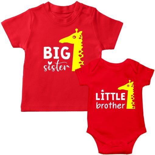 Siblings-Combo-Giraffe-T-Shirt-Red