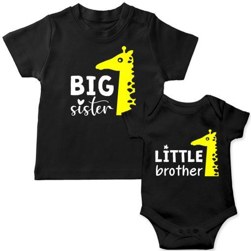 Siblings-Combo-Giraffe-T-Shirt-&-Romper-Black