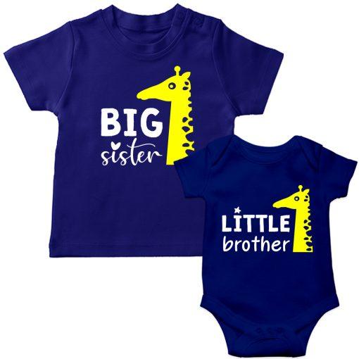 Siblings-Combo-Giraffe-T-Shirt-&-Romper-Blue