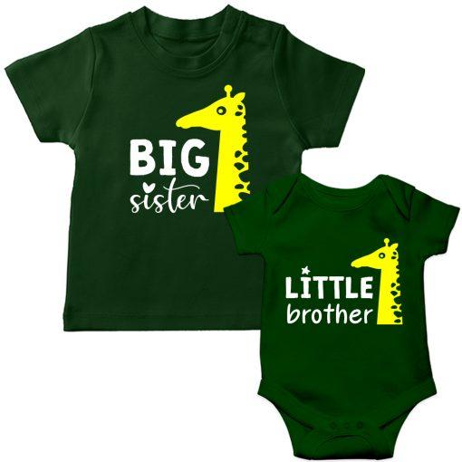 Siblings-Combo-Giraffe-T-Shirt-&-Romper-Green