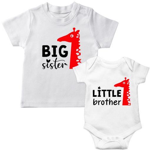 Siblings-Combo-Giraffe-T-Shirt-&-Romper-White