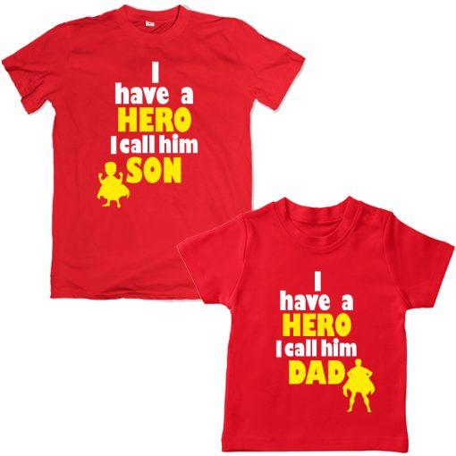Superhero-Calling-Dad-Son-Combo-Tee-Red