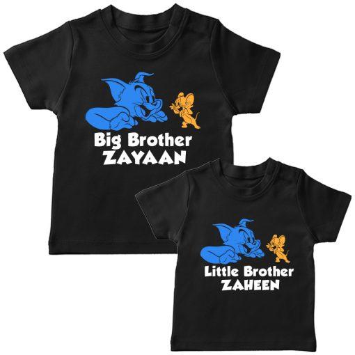 Tom-&-Jerry-Siblings-T-Shirt-T-Shirt-Black
