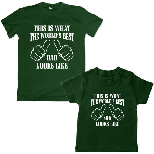 Worlds-Best-Dad-&-Son-Awesome-Combo-T-Shirt--Green