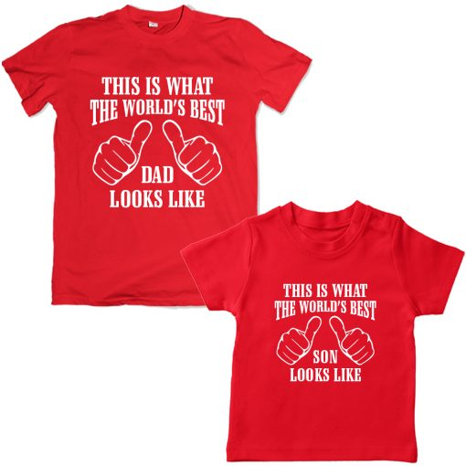 Worlds-Best-Dad-&-Son-Awesome-Combo-T-Shirt-Red