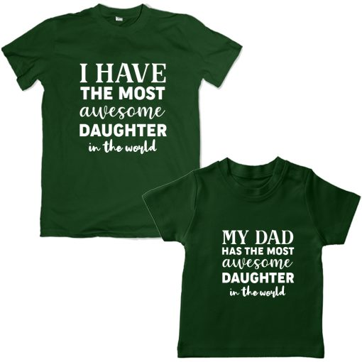 Awesome-Dad-&-Daughter-Combo-TShirt-Green
