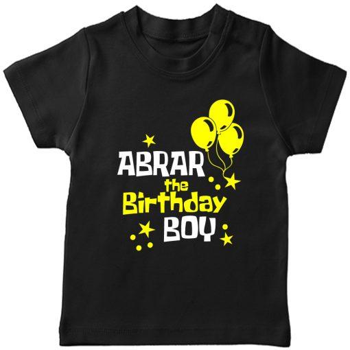 Balloon-Customized-Name-Birthday-T-Shirt-Black