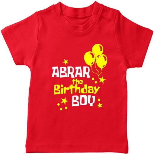 Balloon-Customized-Name-Birthday-T-Shirt-Red
