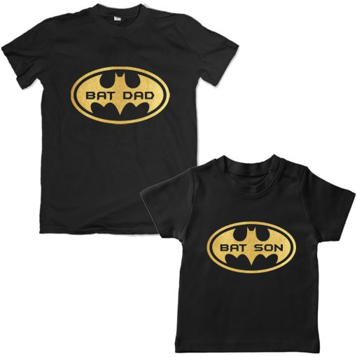 Bat-Dad-Son-Combo-T-Shirt-Black
