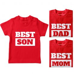 Best-Son-Best-Mom-&-Best-Dad-Family-Combo-TShirt-Red