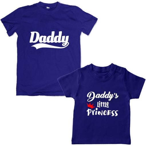 Daddy-&-Daddy's-Little-Princess-Combo-T-Shirt-Blue