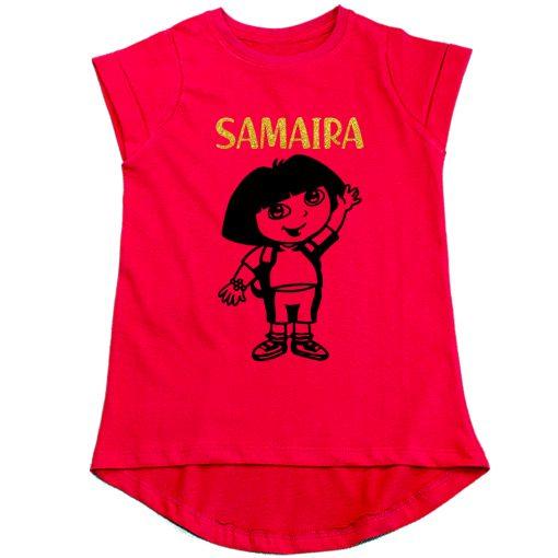 Dora-Cartoon-Girls-T-Shirt-Red