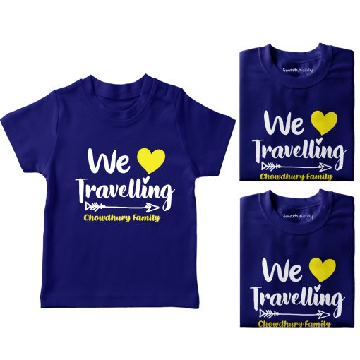 Family-Name-Customized-Travelling-T-Shirt-Blue