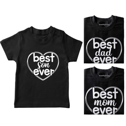 Heart-Shaped-Best-Family-Combo-Designed-T-Shirt-Black