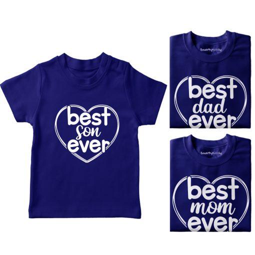 Heart-Shaped-Best-Family-Combo-Designed-T-Shirt-Blue
