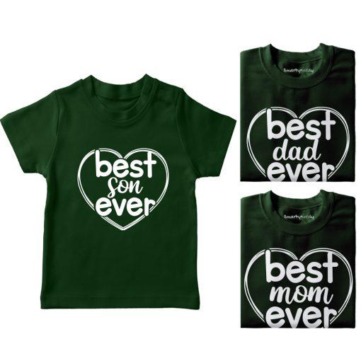 Heart-Shaped-Best-Family-Combo-Designed-T-Shirt-Green