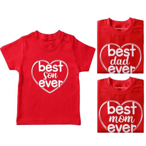 Heart-Shaped-Best-Family-Combo-Designed-T-Shirt-Red