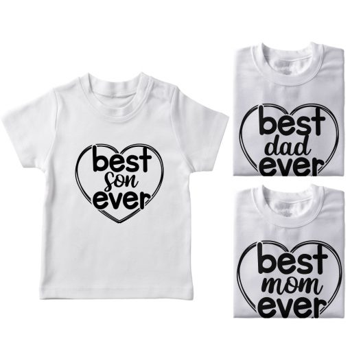 Heart-Shaped-Best-Family-Combo-Designed-T-Shirt-White