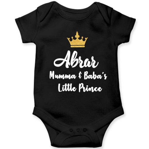 Mamma-&-Baba's-Little-Prince-Baby-Romper-Black