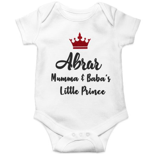 Mamma-&-Baba's-Little-Prince-Baby-Romper-White