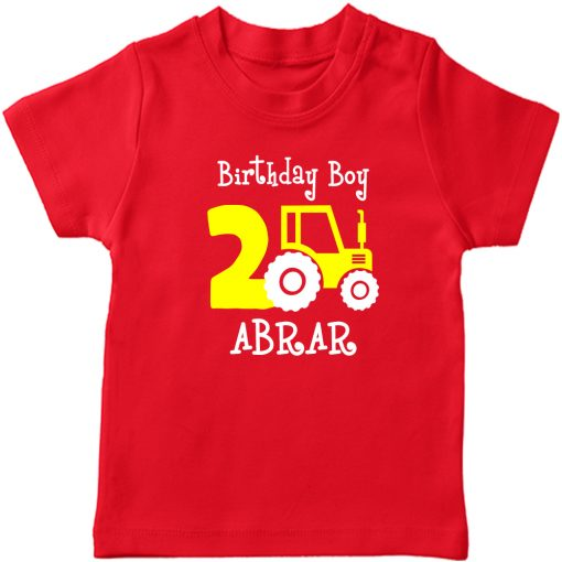 Mini-Trucktor-Customized-Birthday-T-Shirt-Red