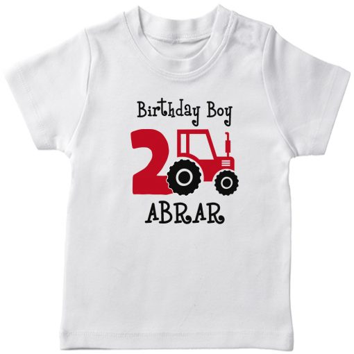 Mini-Trucktor-Customized-Birthday-T-Shirt-White