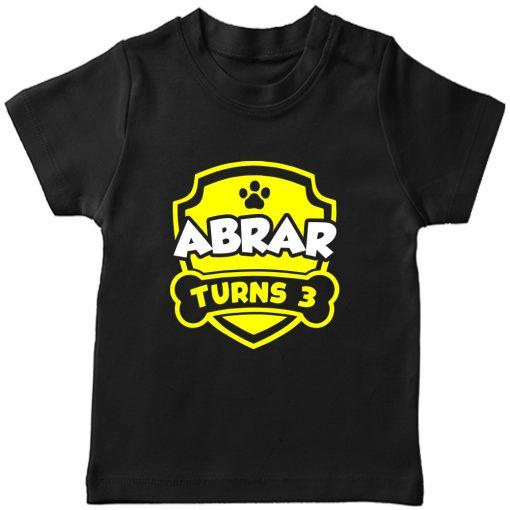 Paw-Birthday-Celebration-Customized-Name-T-Shirt-Black