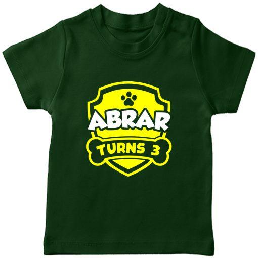 Paw-Birthday-Celebration-Customized-Name-T-Shirt-Green