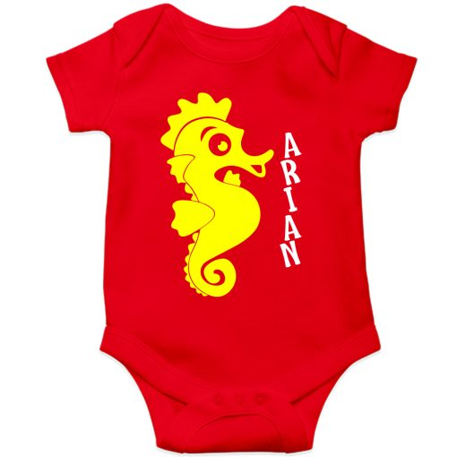Sea-Horse-Customized-Name-Baby-Romper-Red