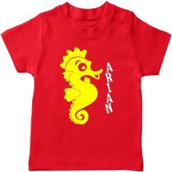 Sea-Horse-Customized-Name-T-Shirt-Red