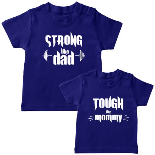 Strong-&-Tough-Like-Mom-Dad-T-Shirt-Blue
