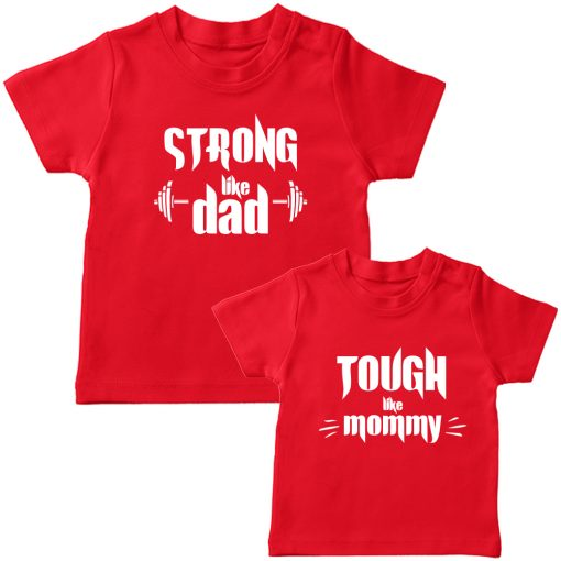 Strong-&-Tough-Like-Mom-Dad-T-Shirt-Red