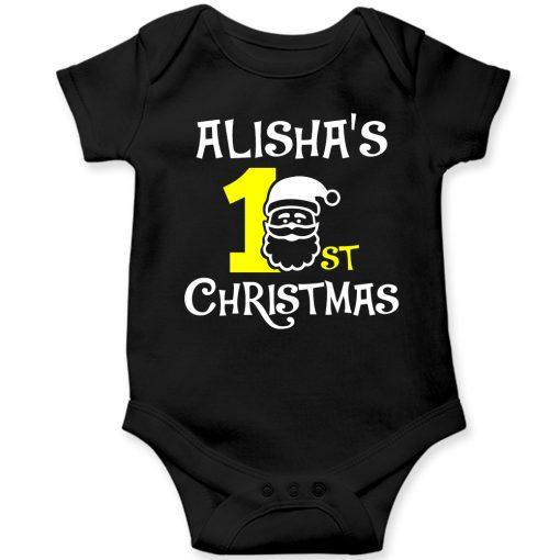1st-Christmas-with-Santa-Baby-Romper-Black