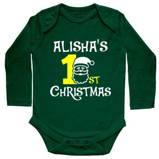 1st-Christmas-with-Santa-Baby-Romper-Full-Sleeve-Green