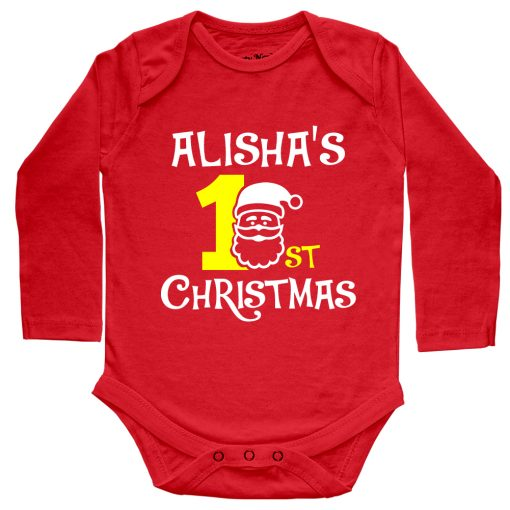 1st-Christmas-with-Santa-Baby-Romper-Full-Sleeve-Red