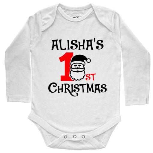 1st-Christmas-with-Santa-Baby-Romper-Full-Sleeve-White