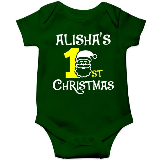 1st-Christmas-with-Santa-Baby-Romper-Green