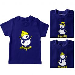 Christmas-Snowman-Family-Combo-T-Shirt-Blue