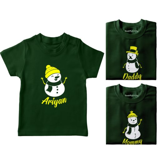Christmas-Snowman-Family-Combo-T-Shirt-Green