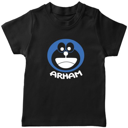 Doremon-Kids-Favourite-Customized-Name-T-Shirt-Black