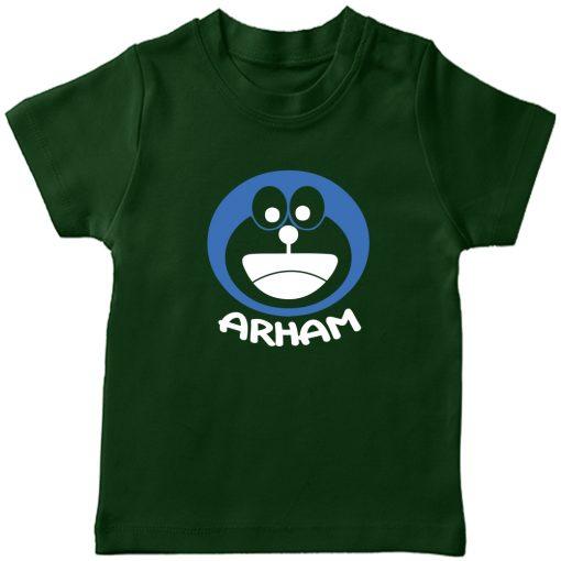 Doremon-Kids-Favourite-Customized-Name-T-Shirt-Green