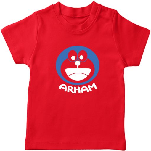 Doremon-Kids-Favourite-Customized-Name-T-Shirt-Red