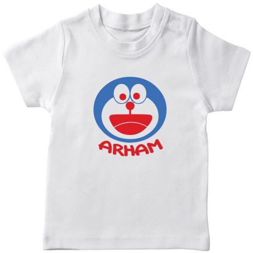 Doremon-Kids-Favourite-Customized-Name-T-Shirt-White