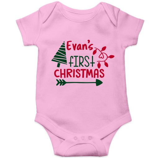 First-Christmas-Customized-Name-Baby--Romper-Pink