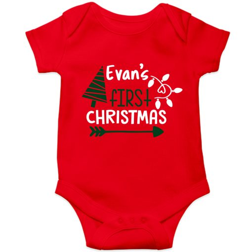 First-Christmas-Customized-Name-Baby--Romper-Red