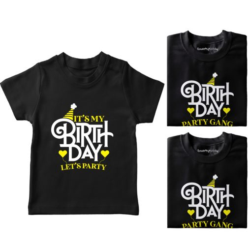 It's-My-Birthday,-Let's-Do-Party-With-Gand-T-Shirt-Black