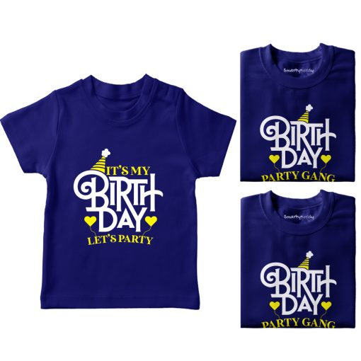 It's-My-Birthday,-Let's-Do-Party-With-Gand-T-Shirt-Blue