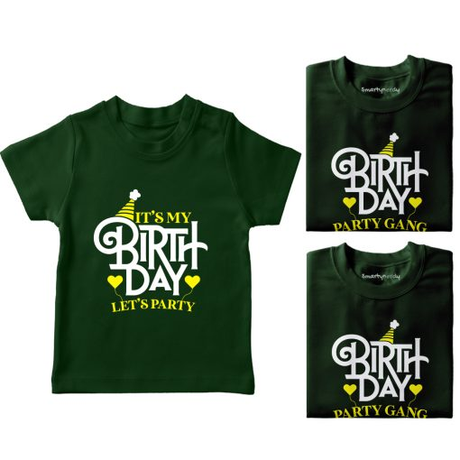 It's-My-Birthday,-Let's-Do-Party-With-Gand-T-Shirt-Green